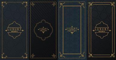 set of four luxury golden frames with victorian style in black background vector