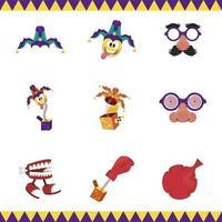 bundle of nine april fools day set icons vector