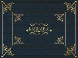 luxury golden frame victorian style in black background vector