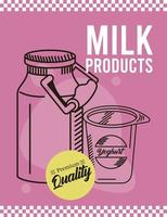 leche y yogur vector