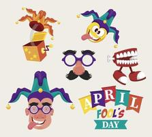 april fools day lettering with five icons vector