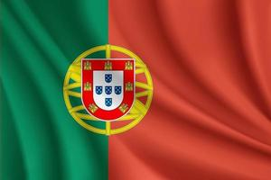 bandera de portugal ondulada vector
