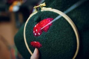 Girl hand embroidery mushroom hat in hoop photo