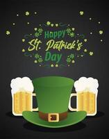 feliz día de san patricio letras con sombrero de copa elfo y cervezas vector