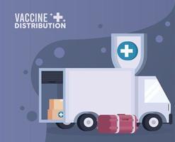 tema de logística de distribución de vacunas con congelador y camión vector