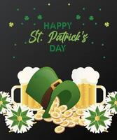 Feliz día de San Patricio letras con cervezas y monedas en tophat vector