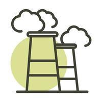 icono de estilo de línea de energía sostenible alternativa contaminación de humo de la industria vector