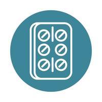 virus covid 19 pandemic painkiller pills block line style icon vector