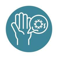 covid 19 pandemic hand pollution infected virus block line style icon vector