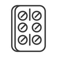 virus covid 19 pandemic painkiller pills line style icon vector