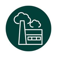 factory pollution alternative sustainable energy block line style icon vector