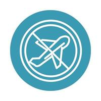 virus covid 19 pandemic prohibited travel in plane block line style icon vector