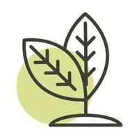 plant leaves nature alternative sustainable energy line style icon vector