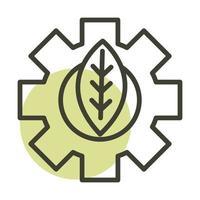 leaf gear alternative sustainable energy line style icon vector