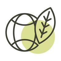 world leaf alternative sustainable energy line style icon vector