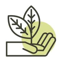 hand with plant alternative sustainable energy line style icon vector