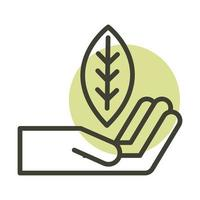 hand with leaf alternative sustainable energy line style icon vector