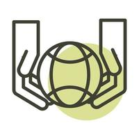 hands and world alternative sustainable energy line style icon vector