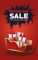 boxing day sale poster with santa claus sled and gifts vector