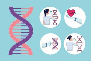 five genetic testing icons vector