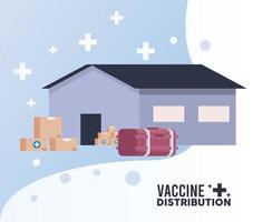 tema de logística de distribución de vacunas con congelador de almacén y cajas vector