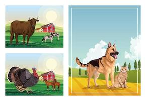 dog and cat with farm animals in the camp scenes vector