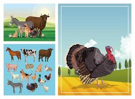 group of animals farm in the camp vector