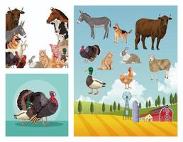 group of animals farm with stable in the camp vector