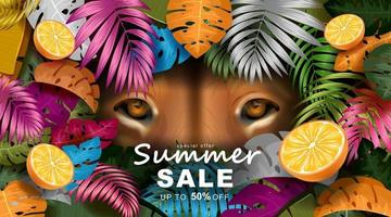 Summer banner template with Tropical leaves and lion eyes vector