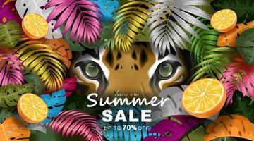 Summer banner template with Tropical leaves and tiger eyes vector