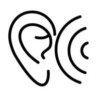 ear wave audio sound line style icon vector