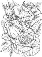 coloring page with roses and leaves black and white outline, antistress coloring flower line art vector