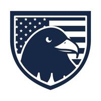 memorial day eagle in shield with flag american celebration silhouette style icon vector
