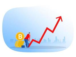 businessman next to bitcoins pumping up arrow, growth invest concept vector