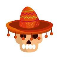 cinco de mayo skull with hat traditional vector