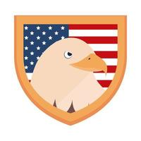 memorial day eagle in shield with flag american celebration flat style icon vector