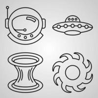 Space Icon Collection White Color Background vector