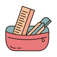 school education pencil case ruler and cutter supply line and fill style icon vector
