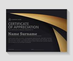 Luxury black and gold certificate vector
