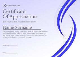 Blue abstract certificate award template vector