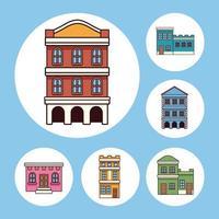 seis edificios festa junina vector