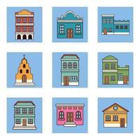 nueve edificios festa junina vector
