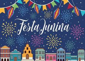 celebración festa junina vector