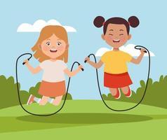 girls jumping ropes vector