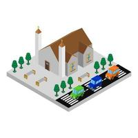 Isometric Church On Background vector