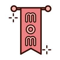 día de la madre colgante letras mamá decoración línea e icono de estilo de relleno vector