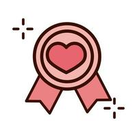 mothers day medal award with heart love line and fill style icon vector