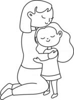 Mother Daughter Kids Coloring Page Great for Beginner Coloring Book vector