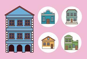 cinco edificios festa junina vector