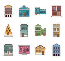 doce edificios festa junina vector